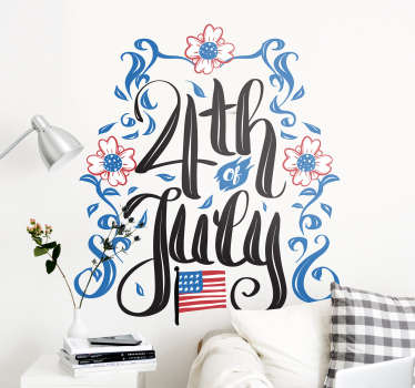 4th of July holiday wall decal