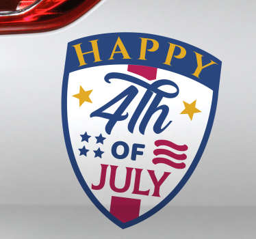 Happy 4th July car decal