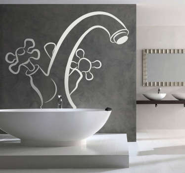 Vinis decorativos para a casa de banho de uma torneira. Excelente autocolante de grande qualidade a preços baixos para sua casa ou empresa.