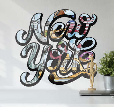 A funky New York sticker, perfect for adding that little touch of city life we all need in our home!Extremely long-lasting material.