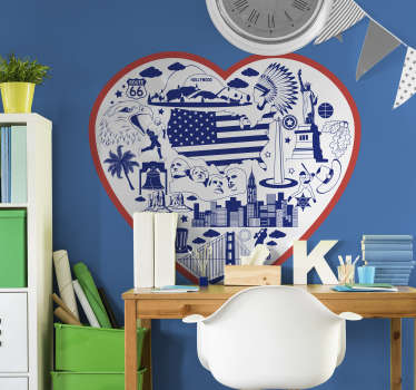 Teen bedroom wall sticker of USA heart theme that contains a lot of features like city, people, sport, flag, monuments and more. Easy to apply design.