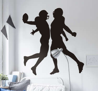 American NFL football silhouette of two players with their sport gear on a striking position. Decorate your home with this design in any colour.