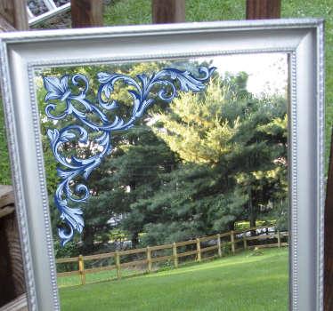 Un sticker de miroir décoratif floral pour décorer votre miroir de salle de bain et miroir de dressing. Vous pouvez avoir le design dans la taille que vous préférez.