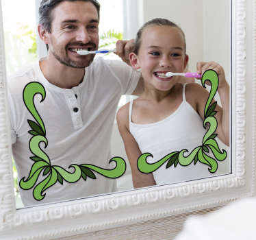 An ornamental green flower mirror decal to decorate the surface of you mirror. Self adhesive , easy to apply design.You can chose your preferred size.
