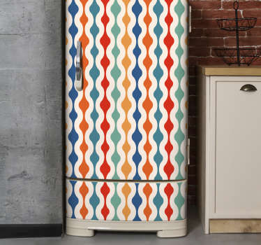A vintage coloured print fridge wrap decal to decorate the surface of your fridge. Easy to apply design because it is self adhesive.