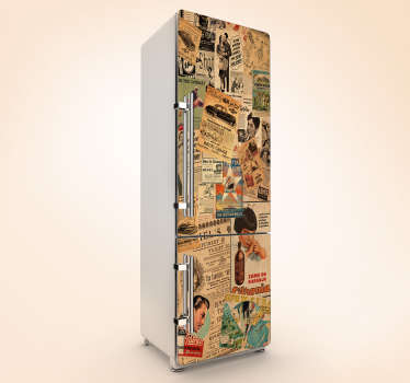 Vintage ad fridge wrap for your fridge surface. The design contains a lot of clippings in different pattern with writing that you will love.