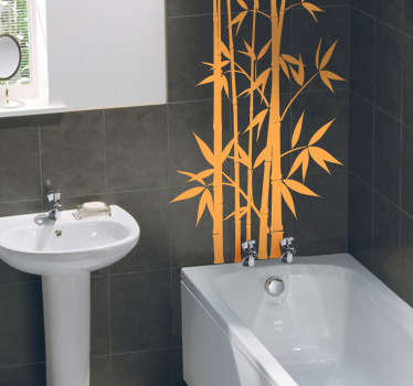 Adhesivo decoración baño planta bambú