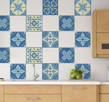 A Portuguese border tile decal to decorate your wall at home . You can use this ornamental created design on your kitchen wall.