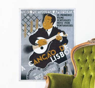 """Decorare a sua casa de forma super original com este fantástico poster autocolante de cinema da comédia """"A Canção de Lisboa""""!"""