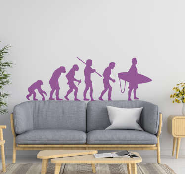 A evolution silhouette decal of a surfer that you can have in any colour . On the design is seen six stages of evolutionary surfing .