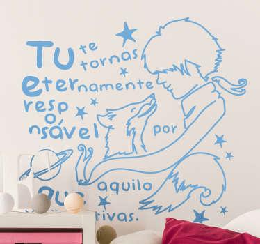 """Dê um toque original à decoração do quarto dos seus filhos com este vinil para quarto infantilde uma famosa frase do livro """"O Principezinho""""."""
