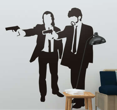 Silhouette wall decal from movies of John Travolta and Samuel L Jackson to decorate and make a movie appearance on your wall surface.