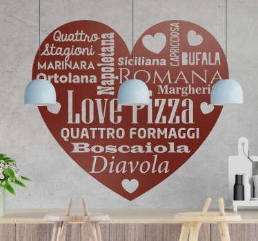 Trasforma i tuoi ambienti con un fantastico adesivo murale per cucina sull'amore per la pizza  e dona alla tua casa una personalità nuova!