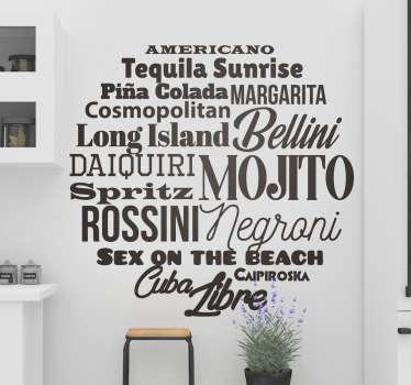 Sticker moderno nomi cocktails