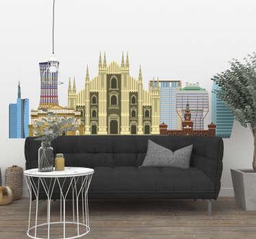 Dimostra che sei un milanese doc con questo colorato adesivo murale con lo skyline di Milano capace di dare un tocco personale alla tua casa!