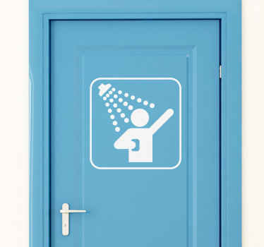 A decorative sticker to indicate where the shower is in the most simple but classic way.