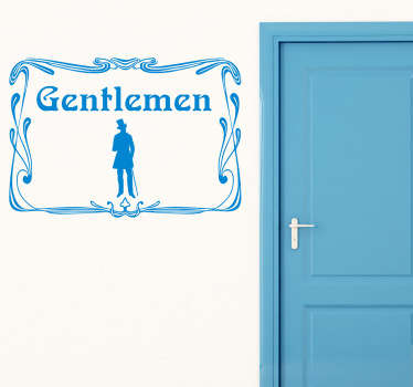 A vintage decal from our retro wall stickers set illustrating a gentlemen to differentiate the gents toilets in an elegant and exquisitely way.