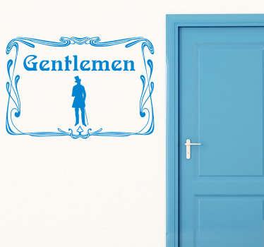 Gents toalettskylt vintage klistermärke