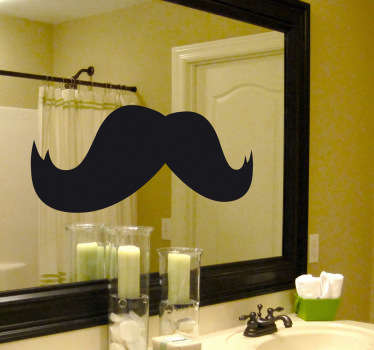 Bathroom mirror sticker of an enormous moustache, ideal to give your bathroom a most curious and fun atmosphere. A sticker filled with humour: Look at yourself in the mirror and imagine yourself with this facial hair.