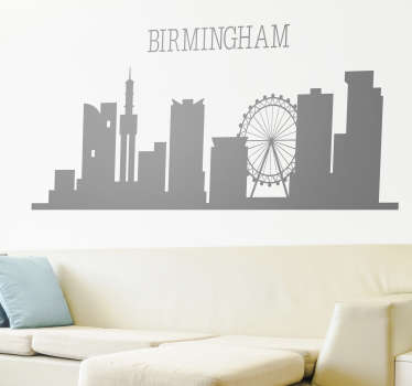 A Birmingham city skyline silhouette that you can have in any other colour of your choice, you can also chose the size you prefer. easy to apply.