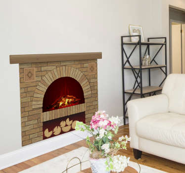 An original bricks textured fire place wall decal created with visual of a fire place that you can decorate your home with . Easy to apply design.