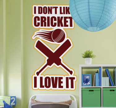 A cricket famous quote wall decal design created with text in colours and ball and a bat.This will make an impression of your though about this sport.