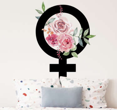 A female symbol emoji wall sticker design with flower to decorate the surface of your bedroom or living room. Easy to apply design.
