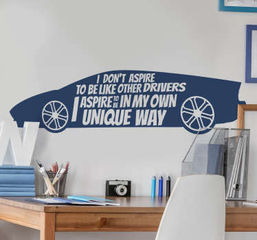 Lewis Hamilton's quote on a car that will be nice to decorate your living room or bedroom. This design will inspire you and keep the wall beautiful.