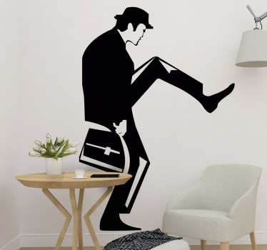 A silhouette wall decal of a movie character from the Monty python that you will love to decorate your wall surface it. Self adhesive , easy to apply.