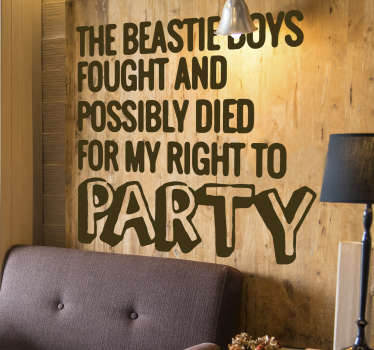 A wall sticker of famous quote that you can have in any colour and size that you prefer. Easy to apply design to beautify your living room or bedroom.