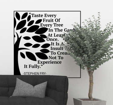 A wall text sticker with tree flower that you can have in any other colour of your choice. Easy to apply design because it is self adhesive.