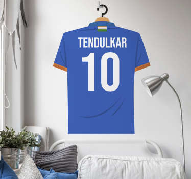A  Tendulkar football  shirt and number designed in blue that you will love to apply in the surface of your wall at home or in your teens room.