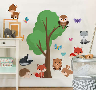 Tree with animals wall sticker for kids bedroom. This product is created in a very colourful and attractive design that the kids will love.
