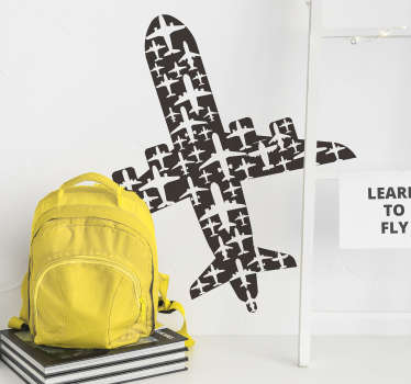 Airplane silhouette wall decal that symbolises travel, adventure and places. This design can be applied in teen's room or living room. Easy to apply.