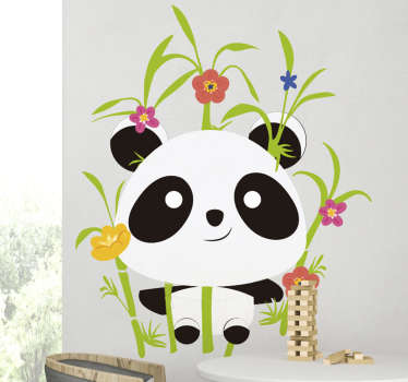 Animal wall sticker with panda and blooming flowers to decorate the bedroom of your child. This design is easy to apply and you can chose the size.