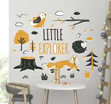 Children animal wall sticker for bedroom. Design created with trees and animals with text '' little explorer. You can chose the size you prefer.