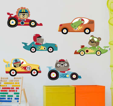 Kids wall sticker of cars with animals created in very colourful and exciting style that you will love.This design can be in the size of your choice .