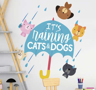 Children bedroom wall sticker design of cats and dogs with rain droplets and  text that says ''raining cat and dog. Easy to apply design.