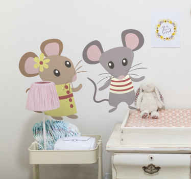 Sticker enfant couple ratons