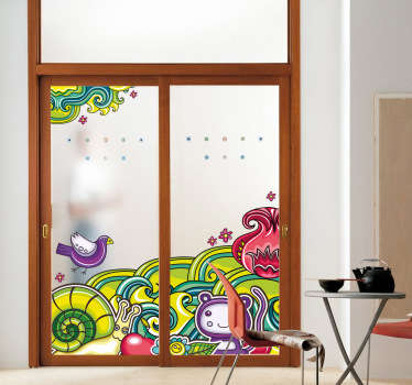 Decals - Colourful and vibrant jungle illustration with various characters and creatures.