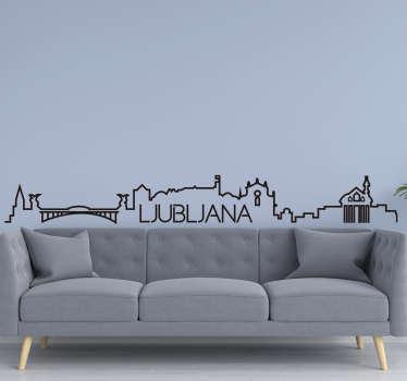 Okrasite svojo dnevno sobo na izviren in ustvarjalen način s tem mestnim ornamentom obrisa silhuete čudovitega mesta ljubljana!