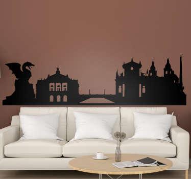 čudovita nalepka silhuete mestnega prestolnice prestolnice slovenije kot nalašč za čudovit okrasitev vaše dnevne sobe ali spalnice!