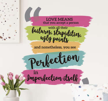 Wall quote sticker of Slavoj about perfection created in very colourful and font style that you will love.This design is easy to apply .