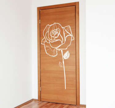 Decals - Sketch outline of a single rose. Floral feature to decorate various spaces in your home. Available in various colours and sizes.