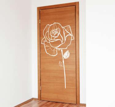 Sticker tekening roos deur