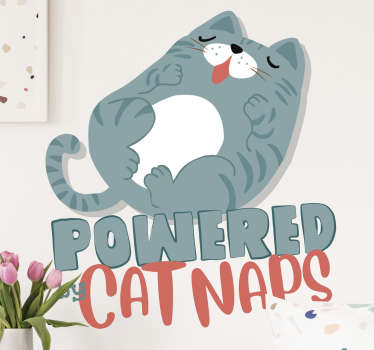 An animal wall sticker for kids bedroom created with a cat and text that says '' nap'. This design will interest you and you will love it on the wall.