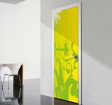 Sticker deur decorate groen draak