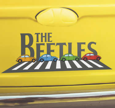 Car decal designed with beetle cars and the text that says ''beetle. This design is very colourful and you will love to ride everywhere with it.