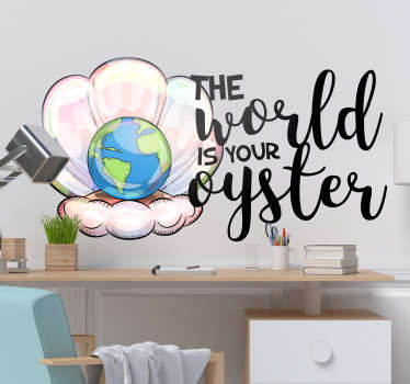Marine wall decal with text design to decorate your home. This design is created with the world , text and oysters. You will love this design.