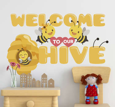 Welcome to our hive insect wall sticker